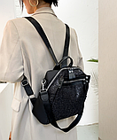 Рюкзак-сумка жіноча з блискітками нейлон чорний, фото 3