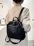 Рюкзак-сумка жіноча з блискітками нейлон чорний, фото 4