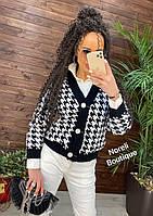 Кардиган, свитер женский с мега-трендовым принтом гусиная лапка