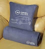 Автомобильный плед + подушка с вышивкой автомобиля