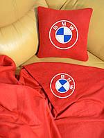 """Автомобильный плед в чехле с вышивкой логотипа """"BMW"""""""