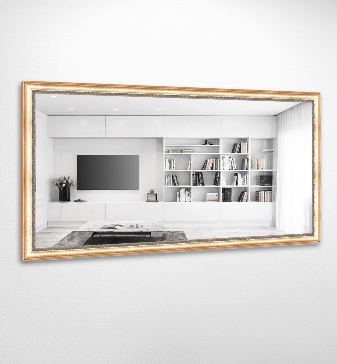 Настенное зеркало БЦ Стол Миранда прямоугольное B01 золотое