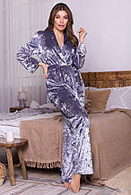 Женский домашний велюровый костюм Лючи серого цвета свободного кроя