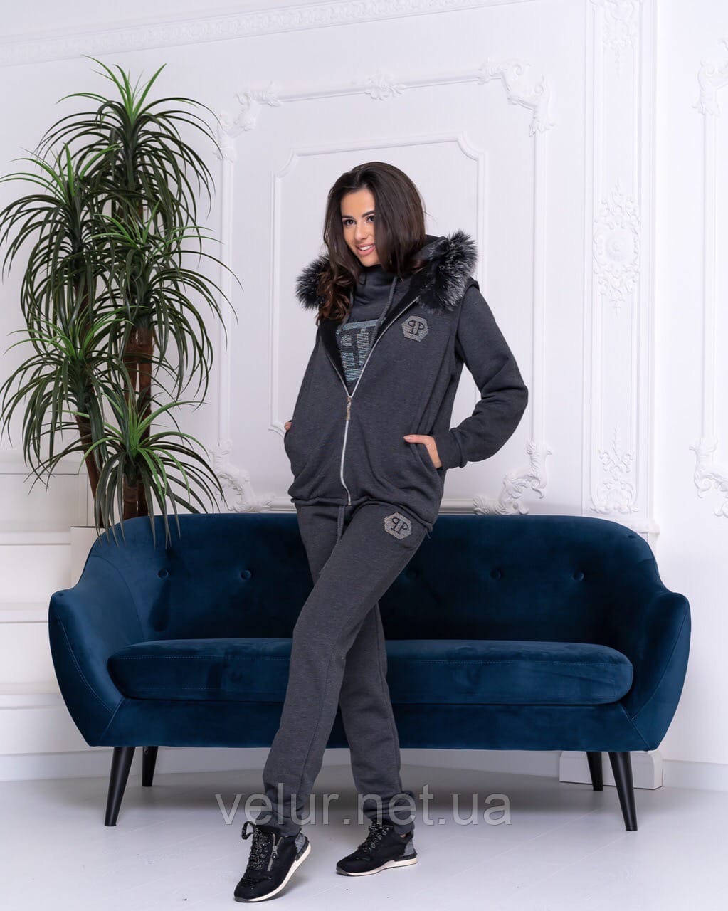 Женский теплый спортивный костюм с жилетом, 2 цвета, Размеры 42,44,46 норма , батал 48,50,52,54