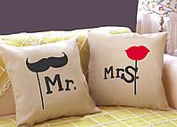 """Набір з двох подушок №37 """"Містер і Місіс"""", фото 1"""