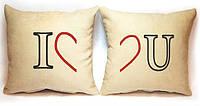 """Набір з двох подушок """"I love U"""", фото 1"""
