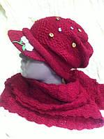 Бордовый комплект шарф  и кепка