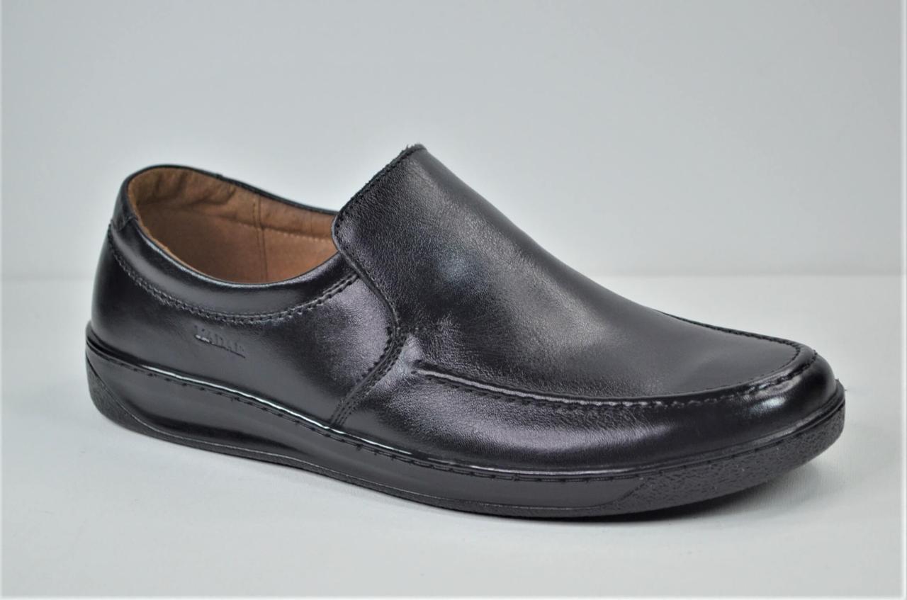 Мужские комфортные кожаные туфли черные KaDar 2772414