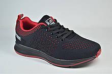 Подростковые кроссовки сетка черные с красным Fagao 7905 - 8