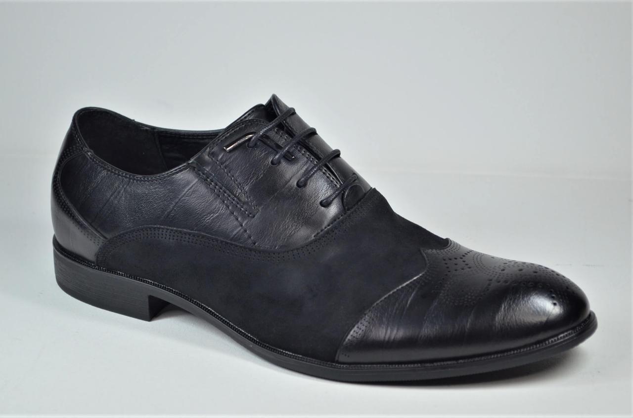 Чоловічі туфлі полуброги чорні Desay 0120 - 211