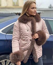 Куртка женская с мехом песца, размер с