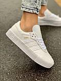 Женские кожаные кроссовки Adidas Samba White Leather белого цвета, фото 2
