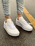 Женские кожаные кроссовки Adidas Samba White Leather белого цвета, фото 3