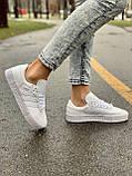 Женские кожаные кроссовки Adidas Samba White Leather белого цвета, фото 4