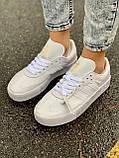 Женские кожаные кроссовки Adidas Samba White Leather белого цвета, фото 9