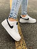 Женские кожаные кроссовки Nike Air Force 1 White 'Black Logo', фото 5