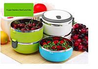 Переносная ёмкость для хранения продуктов 3 Layer Stainless Steel Lunch Box (3 шт.), фото 1