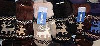 Детские варежки (рукавички) Корона Rk. С мехом Двойные с махрой внутри. С нарисованными оленями