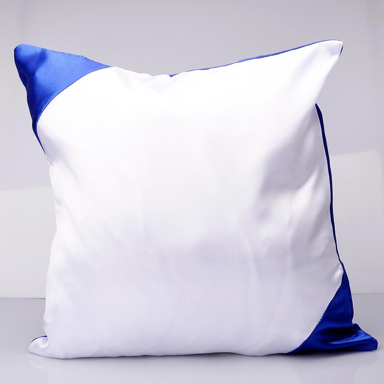Подушка 35*35 кольорова з кольоровим куточком синя