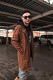 Теракот  Мужское коричневое пальто удлиненное осень/весна. Мужская куртка пальто без капюшона демисезонное, фото 2