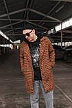 Теракот  Мужское коричневое пальто удлиненное осень/весна. Мужская куртка пальто без капюшона демисезонное, фото 3