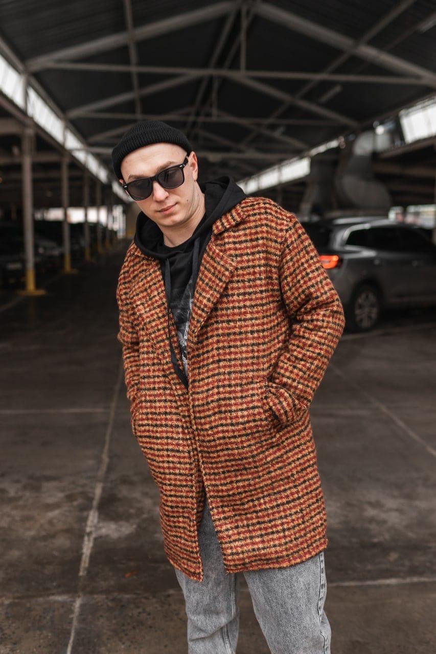 Теракот  Мужское коричневое пальто удлиненное осень/весна. Мужская куртка пальто без капюшона демисезонное