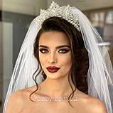 Vanessa - Розкішна корона півколом з неймовірним сяйвом (9 см) (висока діадема), фото 8