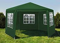 Садовый павильон Malatec шестигранный зеленый c окнами