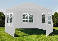 Садовый павильон Malatec шестигранный белый с окнами