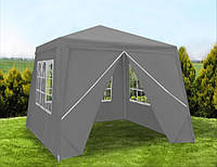 Павильон садовый шатер беседка Malatec 3х3 метра 4 стенки серый