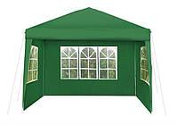 Павильон садовый шатер беседка Malatec 3х3 метра 3 стенки зеленый