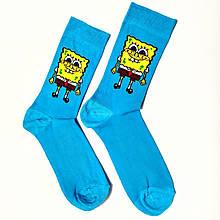 Весёлые носки высокие с принтом Спанч Боб 37-43