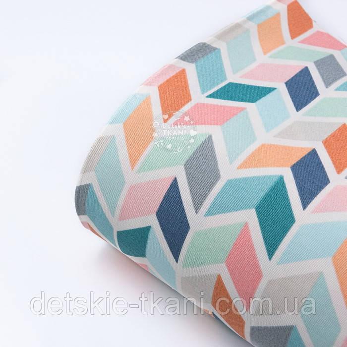 Лоскут тканини Duck 50*45 см з бірюзово-рожевим колоском