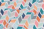Лоскут тканини Duck 50*45 см з бірюзово-рожевим колоском, фото 4