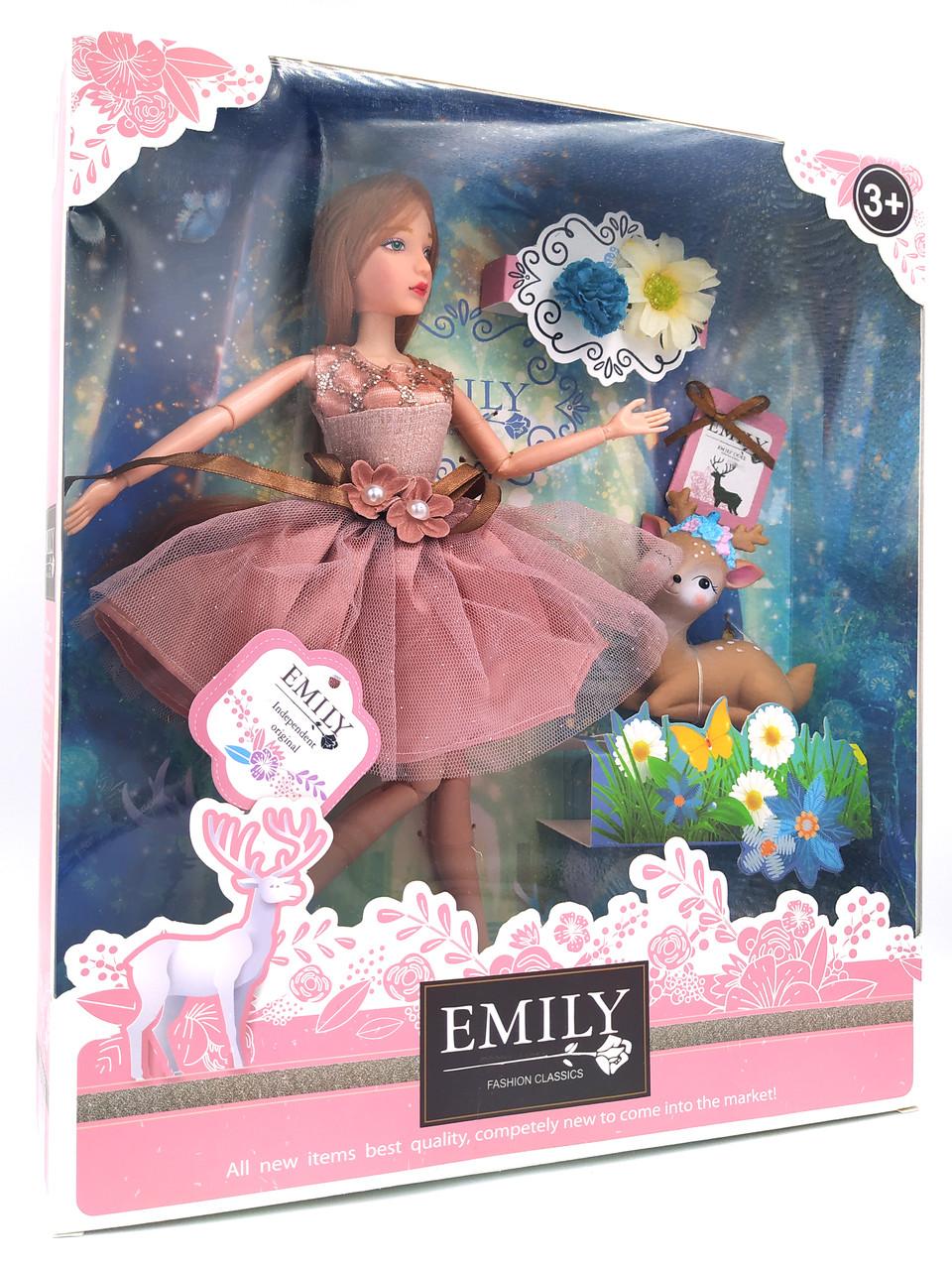 Кукла Эмили Emily Fashion Classics шатенка в платье с высокой детализацией 30см вид 14