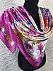 Атласный женский малиновый платок с цветочной абстракцией