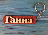 Брелок именной Ганна. Брелок с именем Ганна. Брелок деревянный. Брелок для ключей. Брелоки с именами