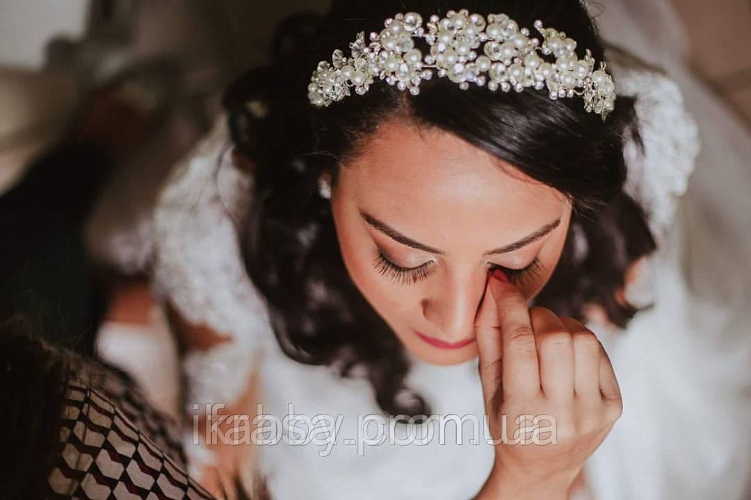Обруч з перлинами та кристалами гнучкий, можна використовувати для зачісок