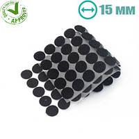 Круглые липучки 15 мм черные 100 шт 1 сорт / многоразовые кружки стикеры на самоклейке