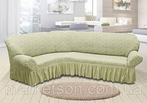 Жаккардовый универсальный натяжной чехол на угловой диван с рюшей, фото 2