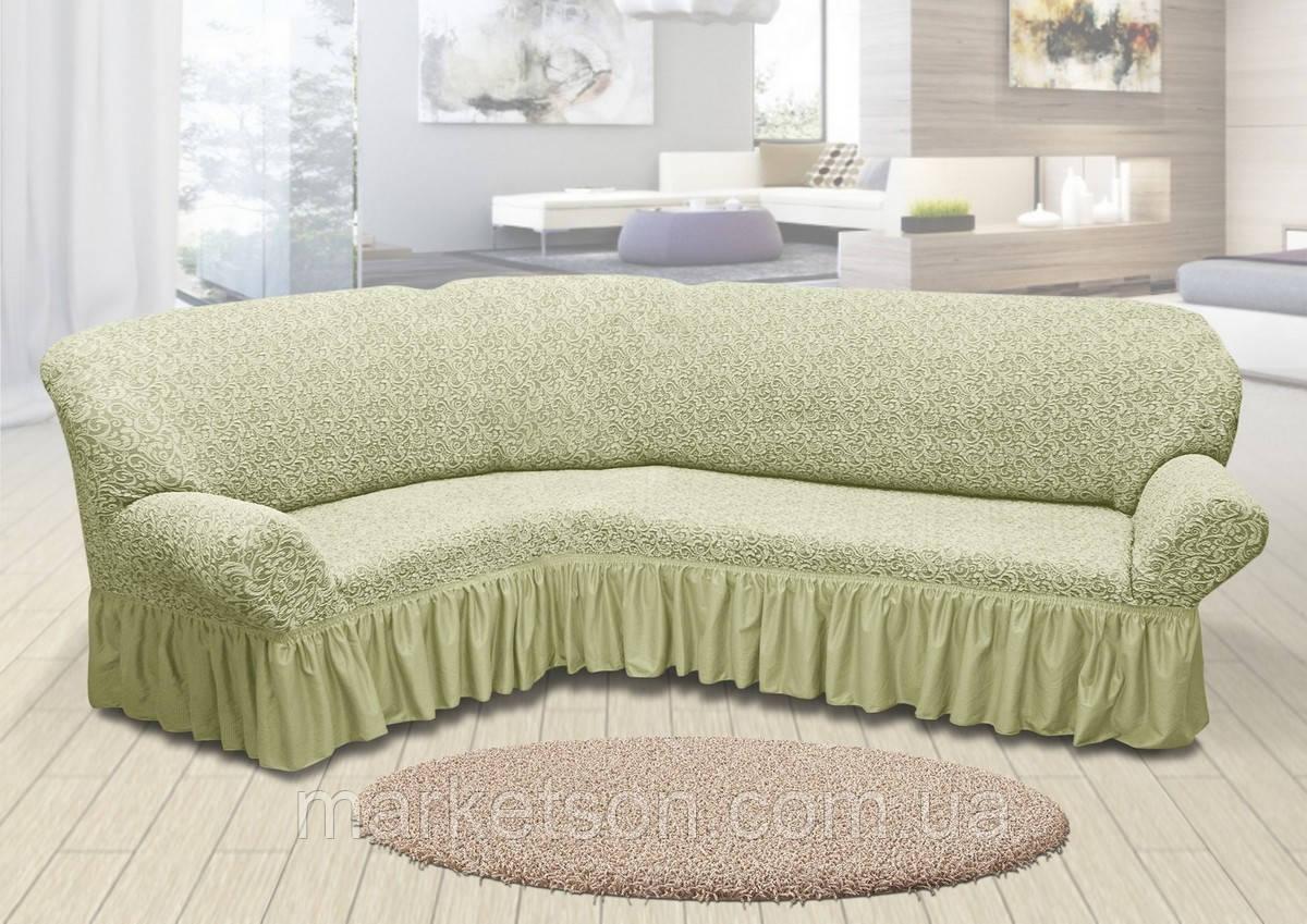Жаккардовый универсальный натяжной чехол на угловой диван с рюшей