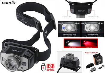 Налобный фонарь BORUIT B33 с зумом и датчиком движения+встроенный аккумулятор (210LM, XP-G2+Red LED, USB)