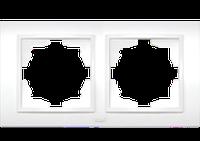 Рамка двойная белый, крем El-Bi Zena