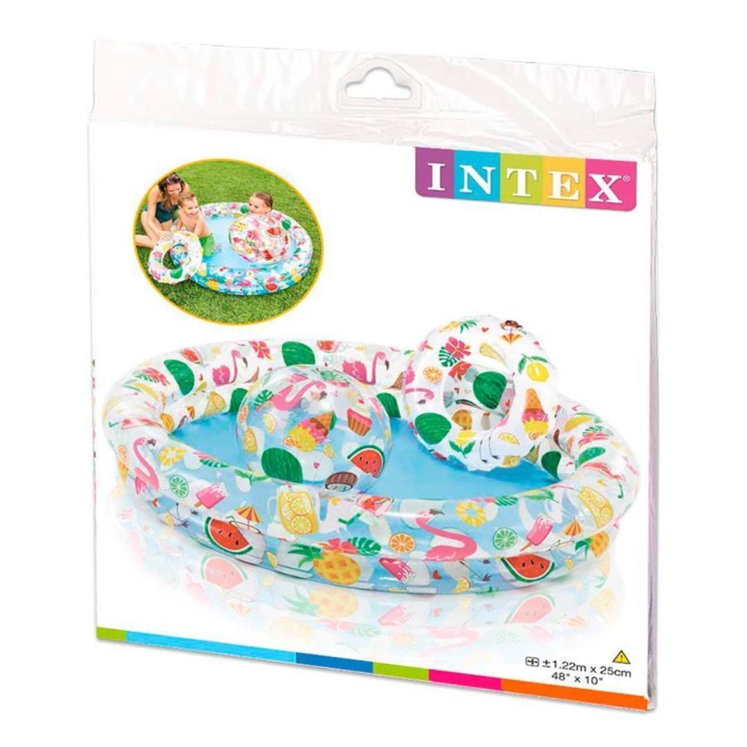 """Набор Intex 59460 """"Тропические фрукты"""" - надувной бассейн,круг, и мяч"""