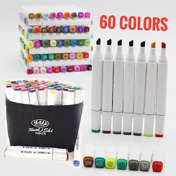 Набор 60 цветов двусторонних маркеров 60 штук Touch для рисования и скетчинга на спиртовой основе