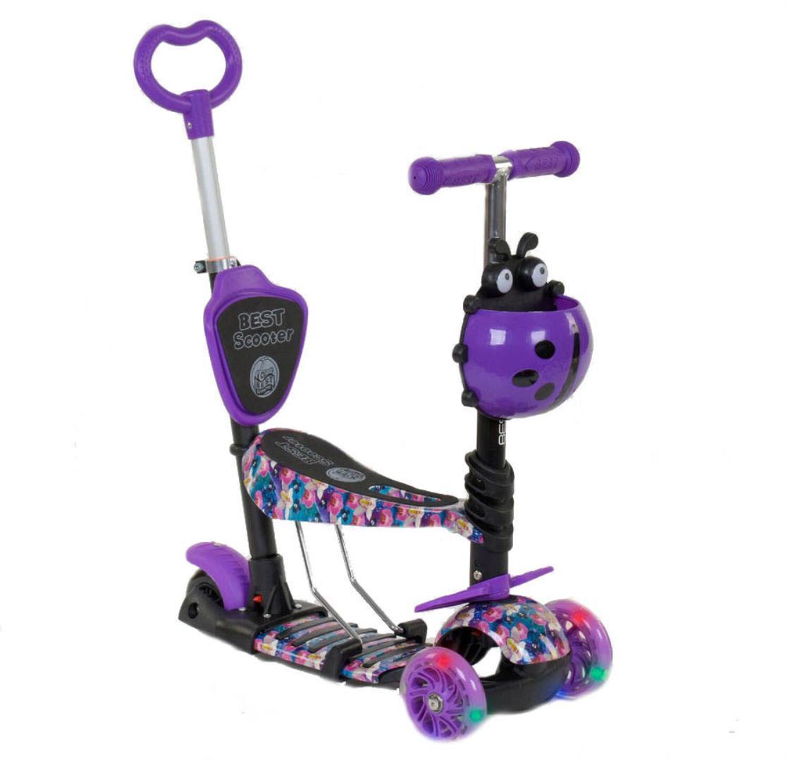 Детский самокат 5в1 Best Scooter 19870 c рисунком и светящимися колёсами