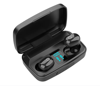 Навушники безпровідні TWS J16 з зарядним боксом, LCD і Power Bank Black