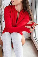 Боді на блискавці однотонне жіноче ЧЕРВОНЕ (ПОШТУЧНО), фото 1