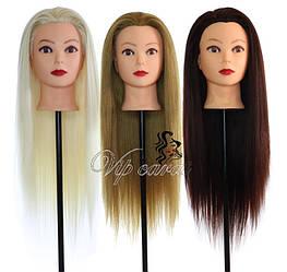 Учебная голова манекен для причесок с натуральными волосами / кукла для парикмахера / манекен для зачісок