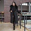 Зимове чорне тепле пальто з хутром Ріміні, фото 7